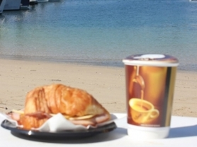 2-4-1 Ham & Cheese Croissant + Coffee, Middle Harbour Yacht Club, Think Local Deal